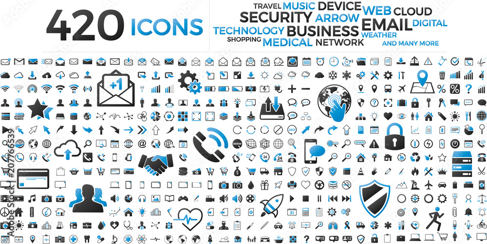 Fototapety, obrazy: Black and blue web business technology icons set