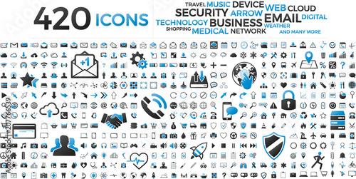 Fotografia  Black and blue web business technology icons set