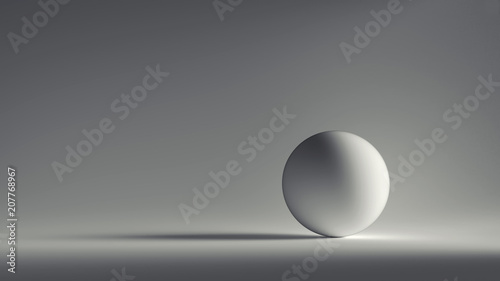 Photo 3d render white sphere with  grey background.