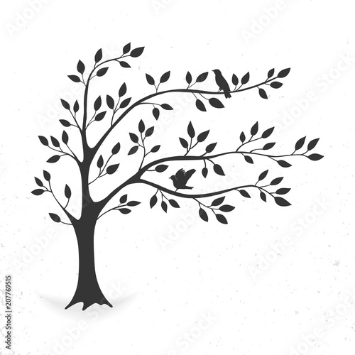 illustration tree with leaves and birds. Silhouette on white background. Wall mural