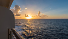 Cruise Ship Deck At Sunset Ove...