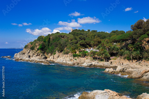 Poster Kust Mediterranean landscape with rocks and blue sky