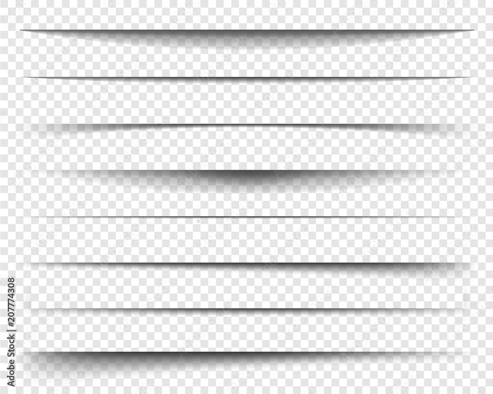 Fototapeta Page dividers with transparent shadows, isolated. Pages separation vector set. Transparent realistic paper shadow effects. Web banner. Element for frame shadow. Vector design for website, text, border