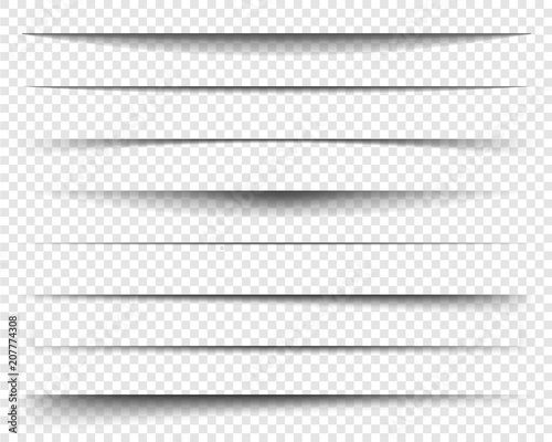 Obraz Page dividers with transparent shadows, isolated. Pages separation vector set. Transparent realistic paper shadow effects. Web banner. Element for frame shadow. Vector design for website, text, border - fototapety do salonu