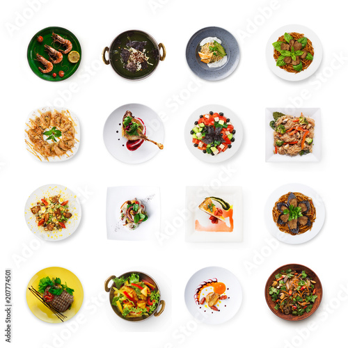Collage of restaurant dishes isolated on white Canvas Print