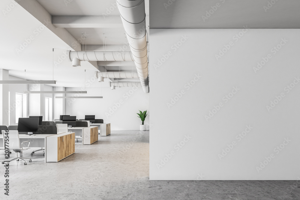 Fototapeta White open space office interior, mock up wall