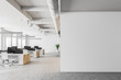 canvas print picture White open space office interior, mock up wall