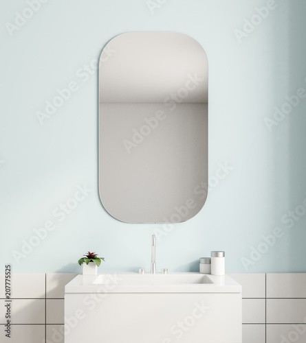 Fotomural White sink and a mirror in a blue bathroom