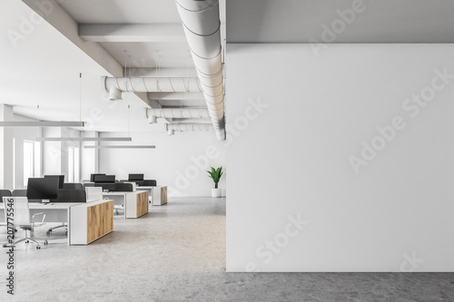 Poster de jardin Mur White open space office interior, mock up wall