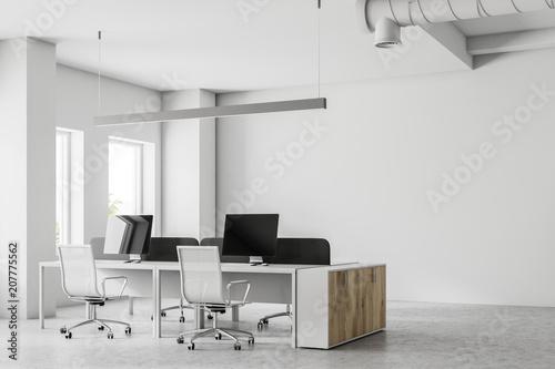 Obraz Corner of an open space office, mock up wall - fototapety do salonu