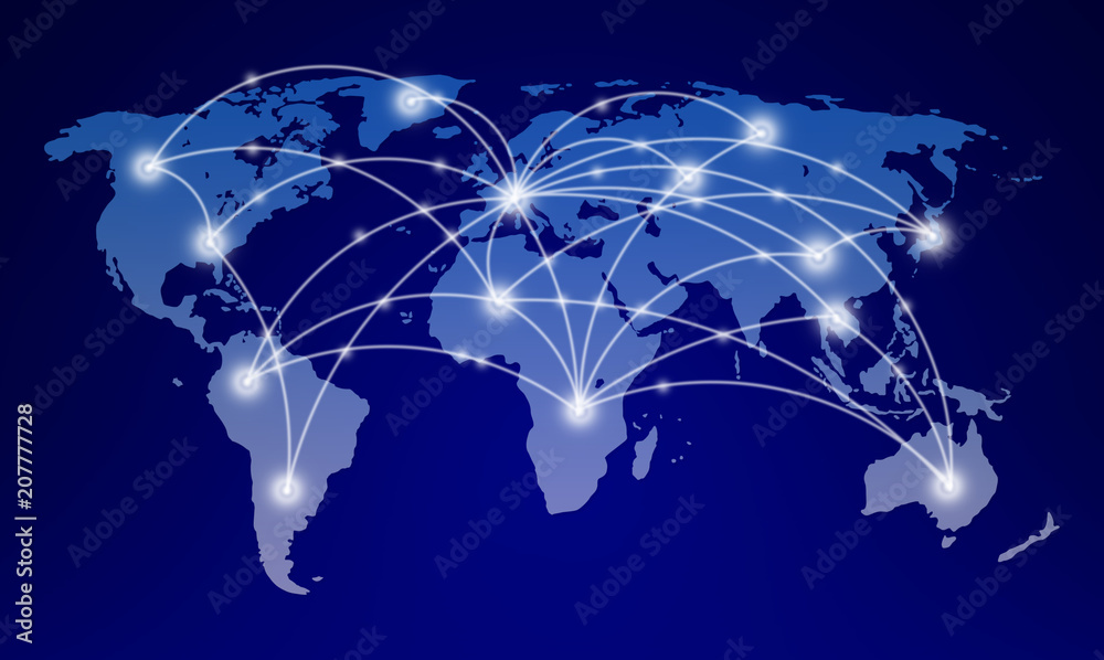 Obraz world map with global network communication fototapeta, plakat