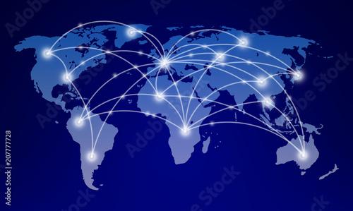 Fototapeta world map with global network communication obraz
