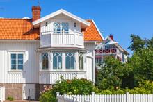 Idyllic White Wooden House Wit...
