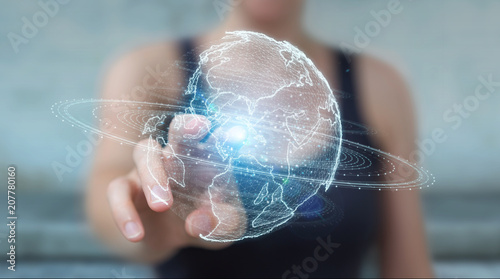 Fototapeta Businesswoman using globe network hologram with America Usa map 3D rendering obraz na płótnie