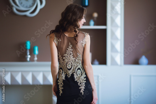 Fotografie, Tablou Beauty brunette model woman in elegant evening dress