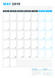 Calendar Template for May 2019. Business Planner Template. Stationery Design. Week starts on Monday. Portrait orientation. Vector Illustration