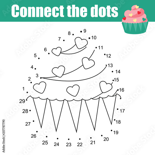 Connect The Dots Children Educational Drawing Game. Dot To Dot By Numbers  Game For Kids. Printable Worksheet Activity For Toddlers With Cupcake - Buy  This Stock Vector And Explore Similar Vectors At