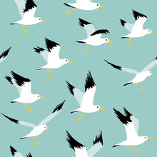 Seamless Pattern With Flyind Seagulls