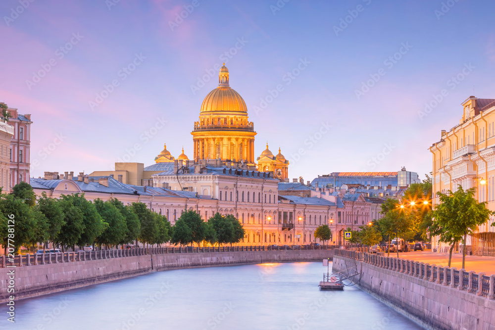 Fototapety, obrazy: Saint Isaac Cathedral across Moyka river in St. Petersburg