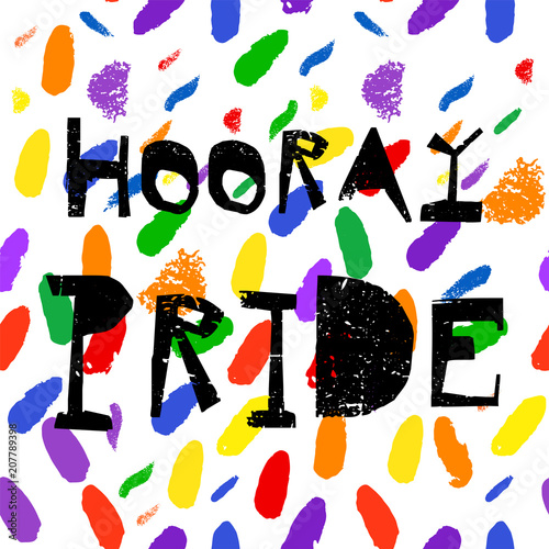 In de dag Regenboog Hooray Confetti Greeting card , poster, banner, brochure or invitation card. Unusual Creative Artistic Vector Background with hand drawn brush textures. Contemporary abstract festive design