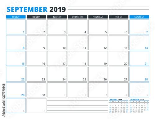Calendar Template For September 2019 Business Planner Template
