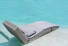 Relaxing Or Leisure Rattan Chair Bed In Swimming Pool .