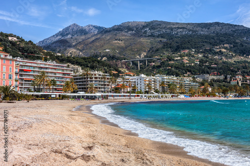 Foto auf Gartenposter Stadt am Wasser Beach and Sea in Menton Town on French Riviera in France