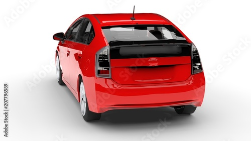 Poster Cars Modern family hybrid car red on a white background with a shadow on the ground. 3d rendering.