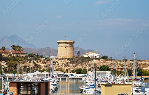 In de dag Poort Moored boats in the El Campello harbor. Alicante. Spain