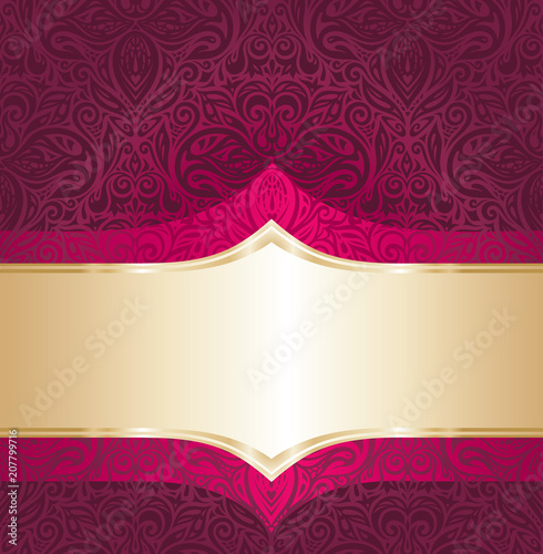 Background Floral Royal Red And Gold Luxury Vintage Invitation Design