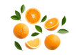 canvas print picture - Group of slices, whole of fresh orange fruits and leaves isolated on white background. Top view
