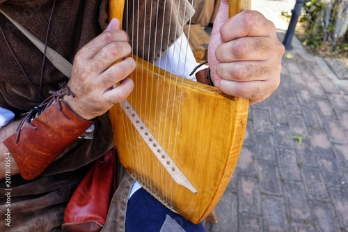 Photo lyre medieval musical instrument