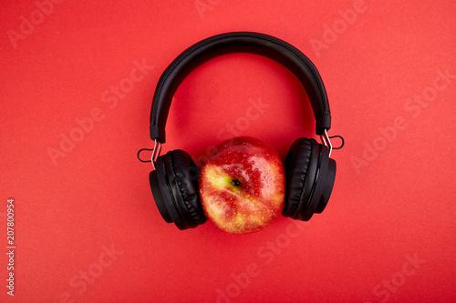 Black Headphones and apple - 207800954