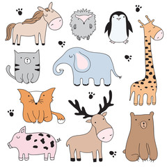 Vector cartoon illustration with cute doodle animals. Perfect set for postcard, Valentine's day, birthday, baby book, children room