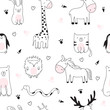 Vector seamless pattern. Cartoon sketch illustration with cute doodle animals.
