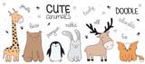 Fototapeta Fototapety na ścianę do pokoju dziecięcego - Vector cartoon sketch illustration with cute doodle animals