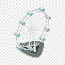Ferris Wheel Isometric Icon 3d On A Transparent Background Vector Illustration