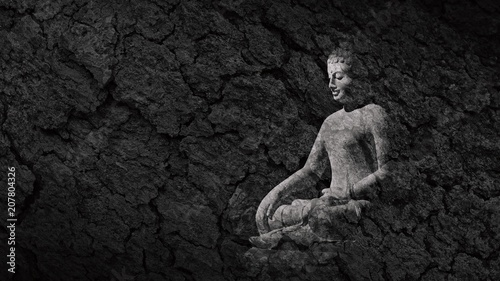 buddha statue on a teak bark texture - abstract monochrome background