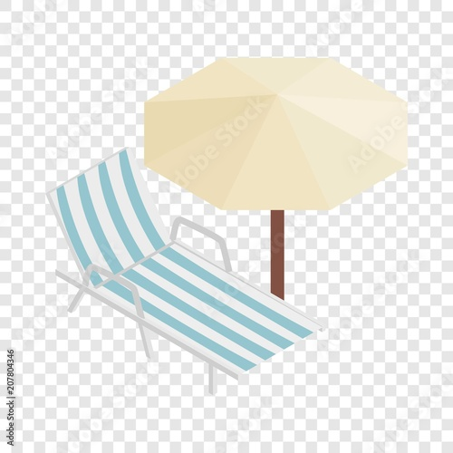 Obraz na plátne Sun lounger and parasol isometric icon 3d on a transparent background vector ill