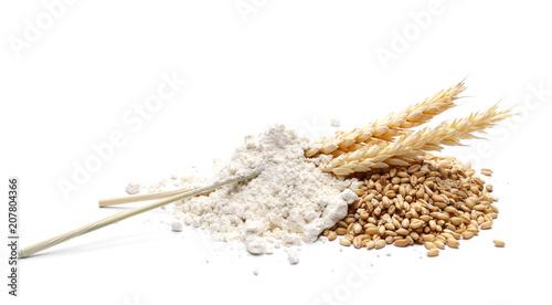 Flour and wheat ears, with grain isolated on white background