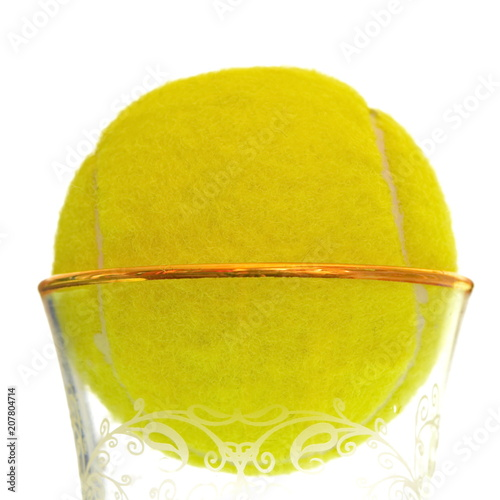 Yellow Tennis Ball In Glass Crystal Cup With Patterns And Gold