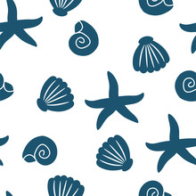 Seamless Pattern Of Seashells And Starfishes. Marine Background. Perfect For Invitations, Greeting Cards, Posters, Prints, Banners, Flyers, Fabric Etc. Vector Illustration