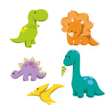 Fototapeta Dinusie - Dinosaur icons in flat style for designing dino party, children holiday, dinosaurus related materials