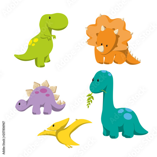 Photo Dinosaur icons in flat style for designing dino party, children holiday, dinosau