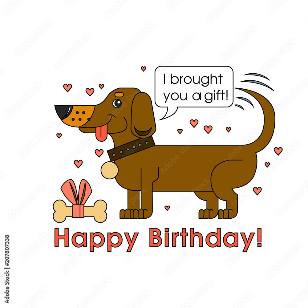 Photo Art Print Happy Birthday Card For Dog Lover