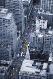 Fototapeta New York - Yellow Manhattan taxis