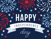 Happy Independence Day, 4th July National Holiday. Festive Greeting Card, Invitation With Hand Drawn Fireworks In USA Flag Colors. Vector Illustration Background, Web Banner.