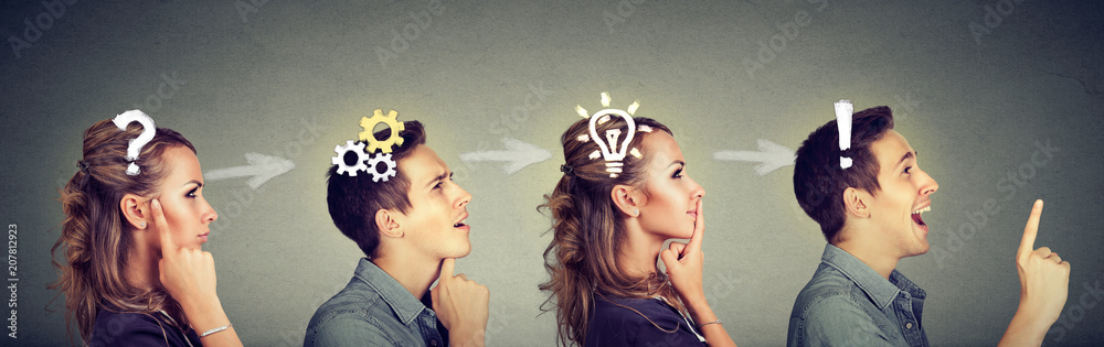 Fototapeta Thoughtful man and woman thinking solving together a common problem