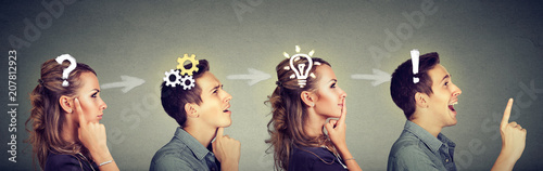 Obraz Thoughtful man and woman thinking solving together a common problem - fototapety do salonu