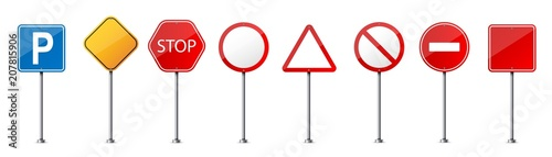 Obraz Creative vector illustration of road warning sign isolated on transparent background. Art design realistic blank traffic regulatory template. Abstract concept graphic empty banners mockup element - fototapety do salonu